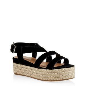 🔥SALE🔥NEW 🌹Espadrille (Black) Platform Sandals